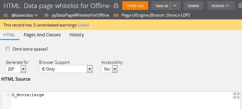 Data page whitelist