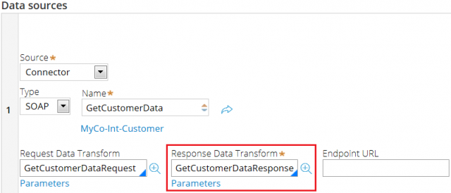 Response data transform for connector data source
