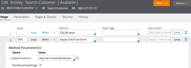 Using error handling data transform in an activity data source