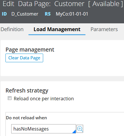 Configuring data page to manually retry on error