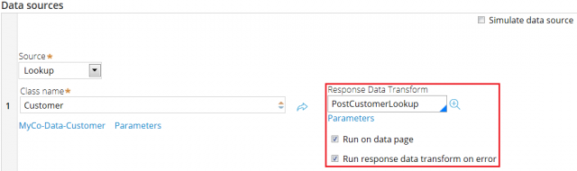 Response data transform for Lookup type data source