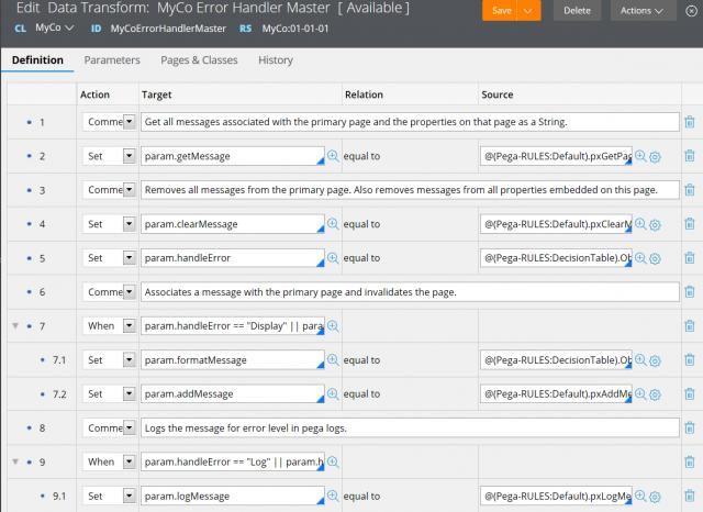 Custom error handling data transform