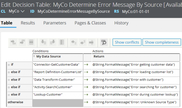 Configuring decision table to send user-friendly messages