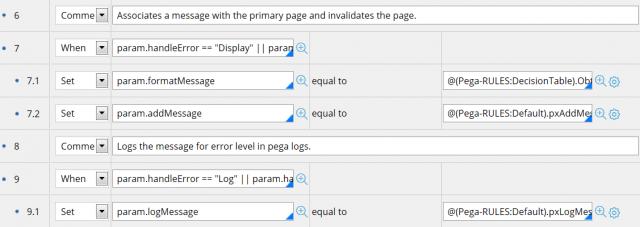 Set error handling steps in the data transform