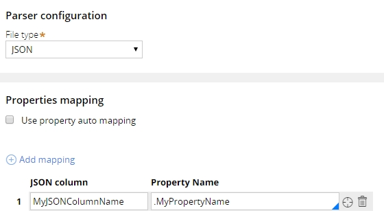 Parser configuration with property mapping options