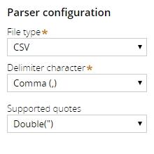 Parser configuration