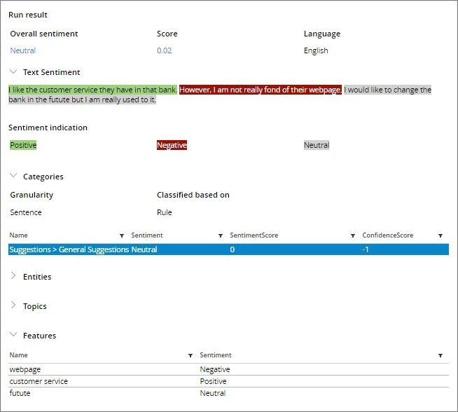 NLP Portal Example Results