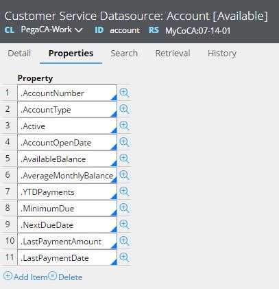 List of Customer Service Datasource properties