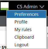 User toolbar drop-down menu