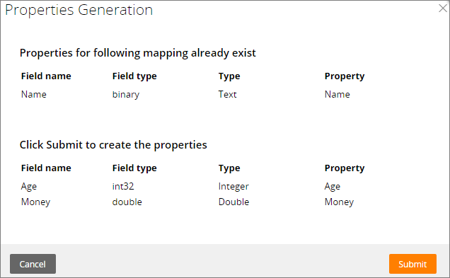 Properties Generation dialog box