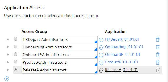 Default access group configuration