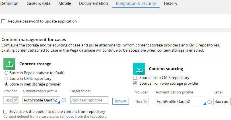 Application rule configuration for content storage and sourcing in Box
