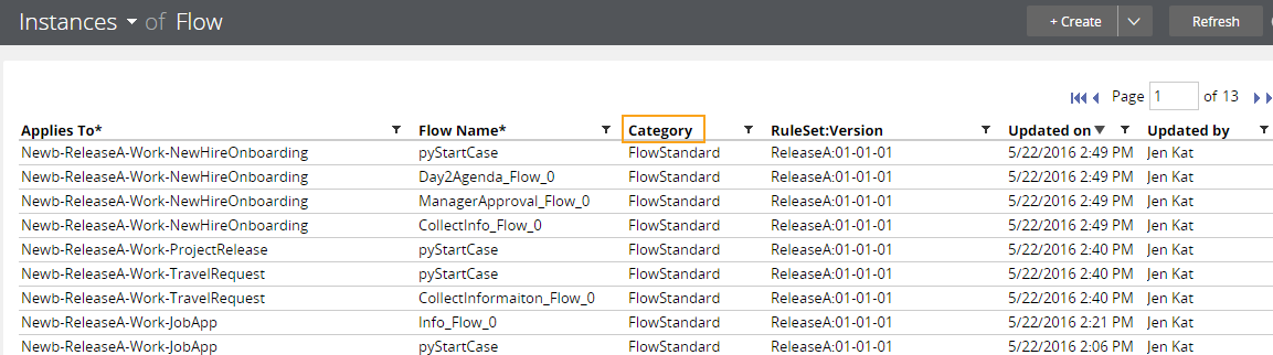 Flow instance list with Category property exposed
