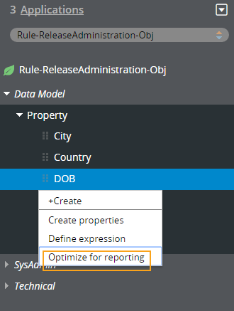 Optimize a property in the Application Explorer