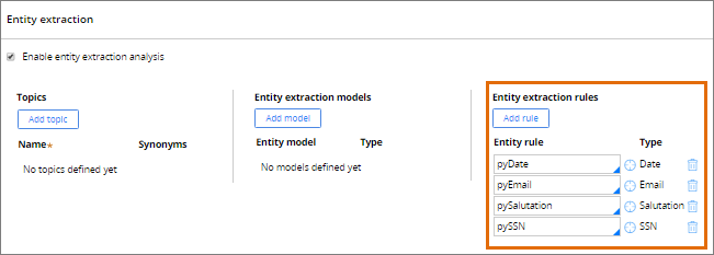 Entity extraction rules in a Free Text model