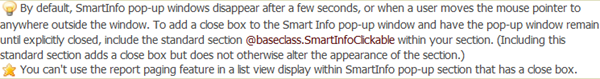 SmartInfo definition Help topic To Add a Close Icon