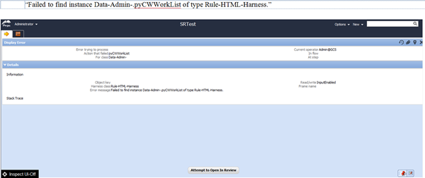 Failed to find instance Data-admin-.pyCWWorkList of type Rule-HTML-Harness
