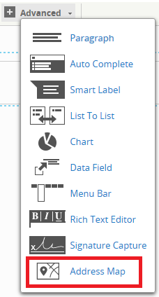 The Advanced menu with Address Map selected