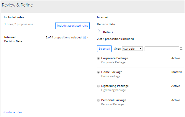 Selecting specific propositions in change request