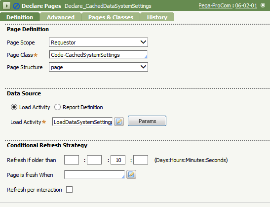 Declare Pages instance using the Requestor page scope
