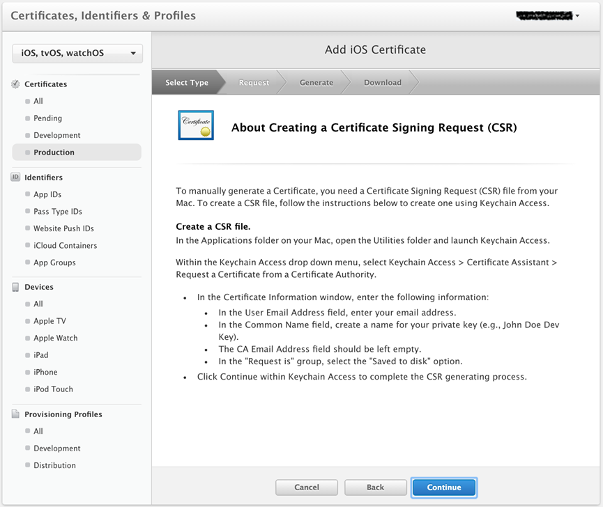 About Creating a Certificate Signing Request screen