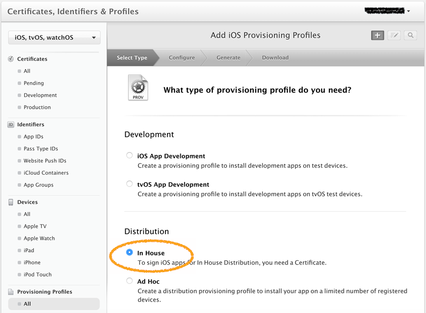 Add iOS Provisioning Profiles screen