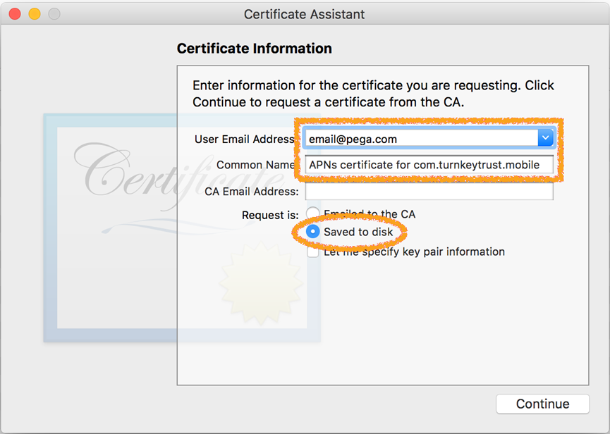 Certificate Information screen