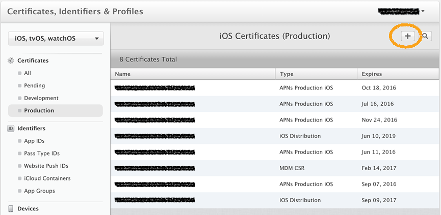 Certificates, Identifiers and Profiles screen