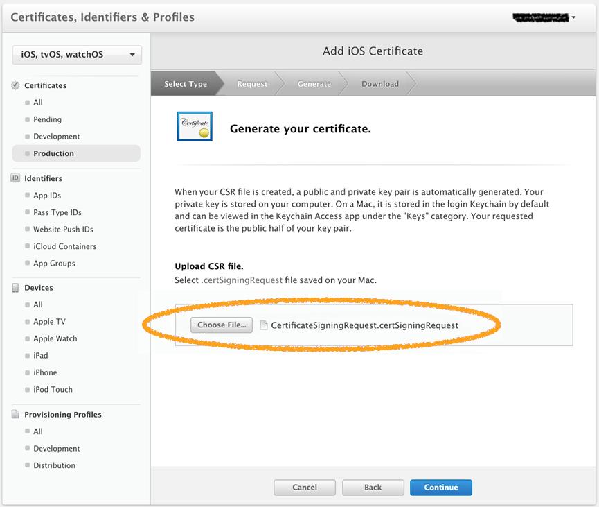Generate Your Certificate screen