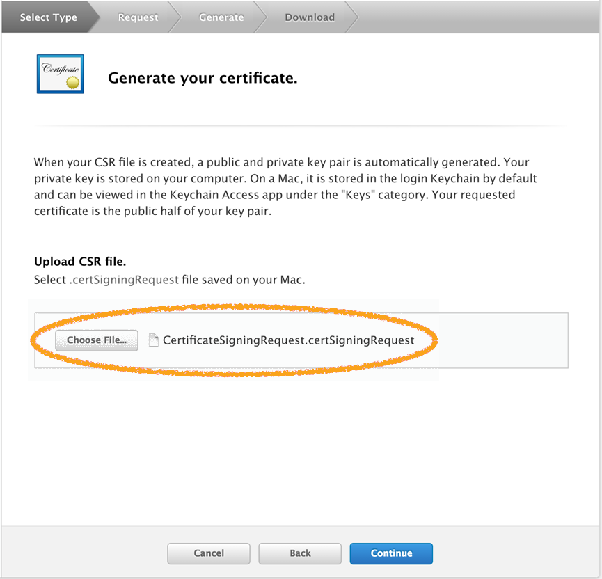 Generate Your Certificate screen