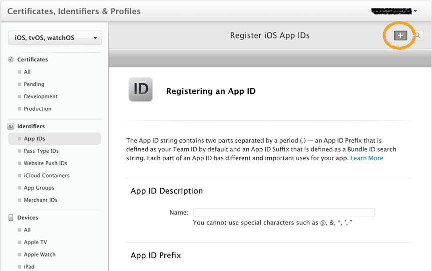 Register an App ID screen