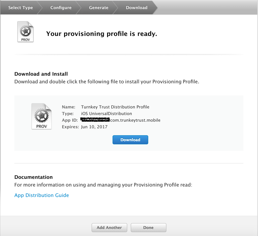 Your Provisioning Profile is Ready screen