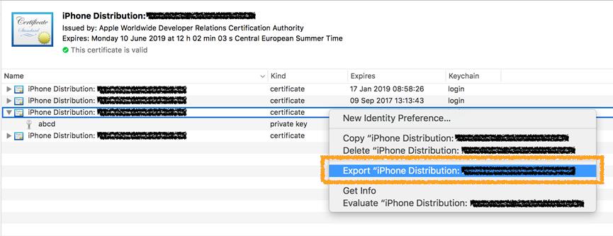 iPhone Distribution screen