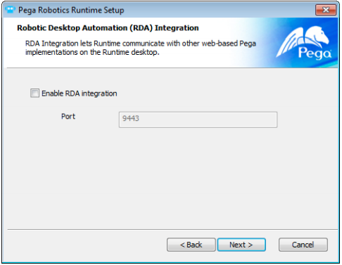 Robotic Desktop Automation option in the installation wizard
