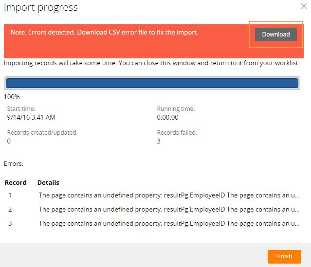 Downloading errors during data import