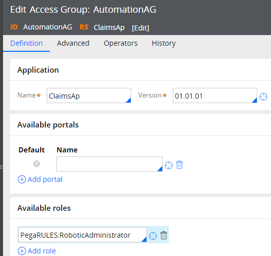 Configured Access Group form