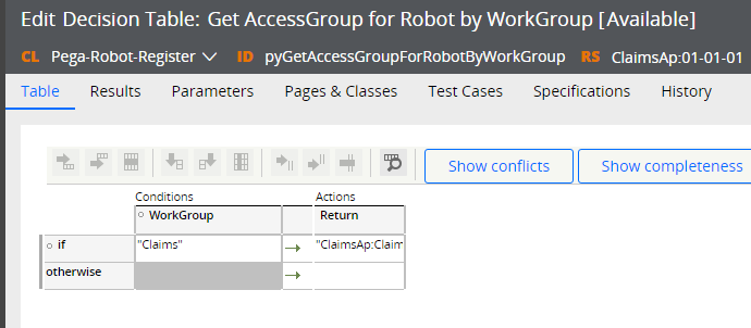 Work group mapped to an access group in the pyGetAccessGroupForRobotByWorkGroup decision table