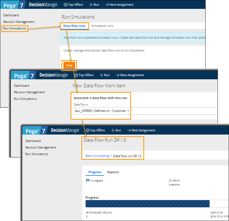 Running a data flow in the Decision Manager portal