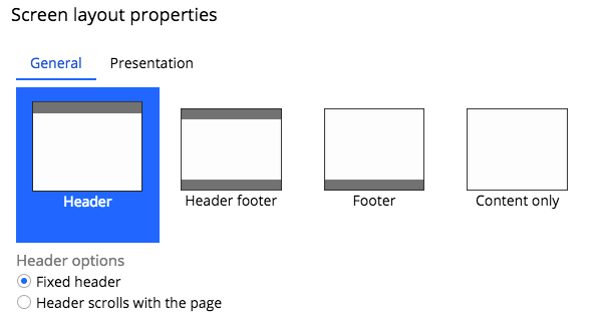 Screen layout properties showing header and footer options