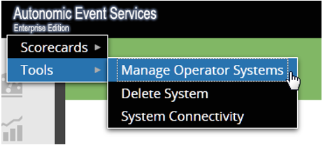 AES Tools menu Manage Operator Systems