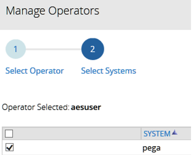 Manager Operators to Select System for the specified operator