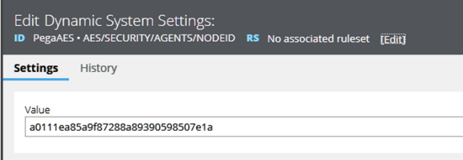 Edit Dynamic System Settings for PegaAES Security Agents Node ID