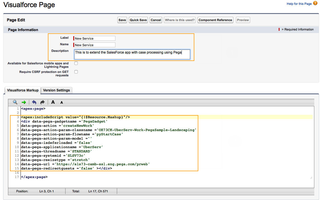 The Salesforce Visualforce markup
