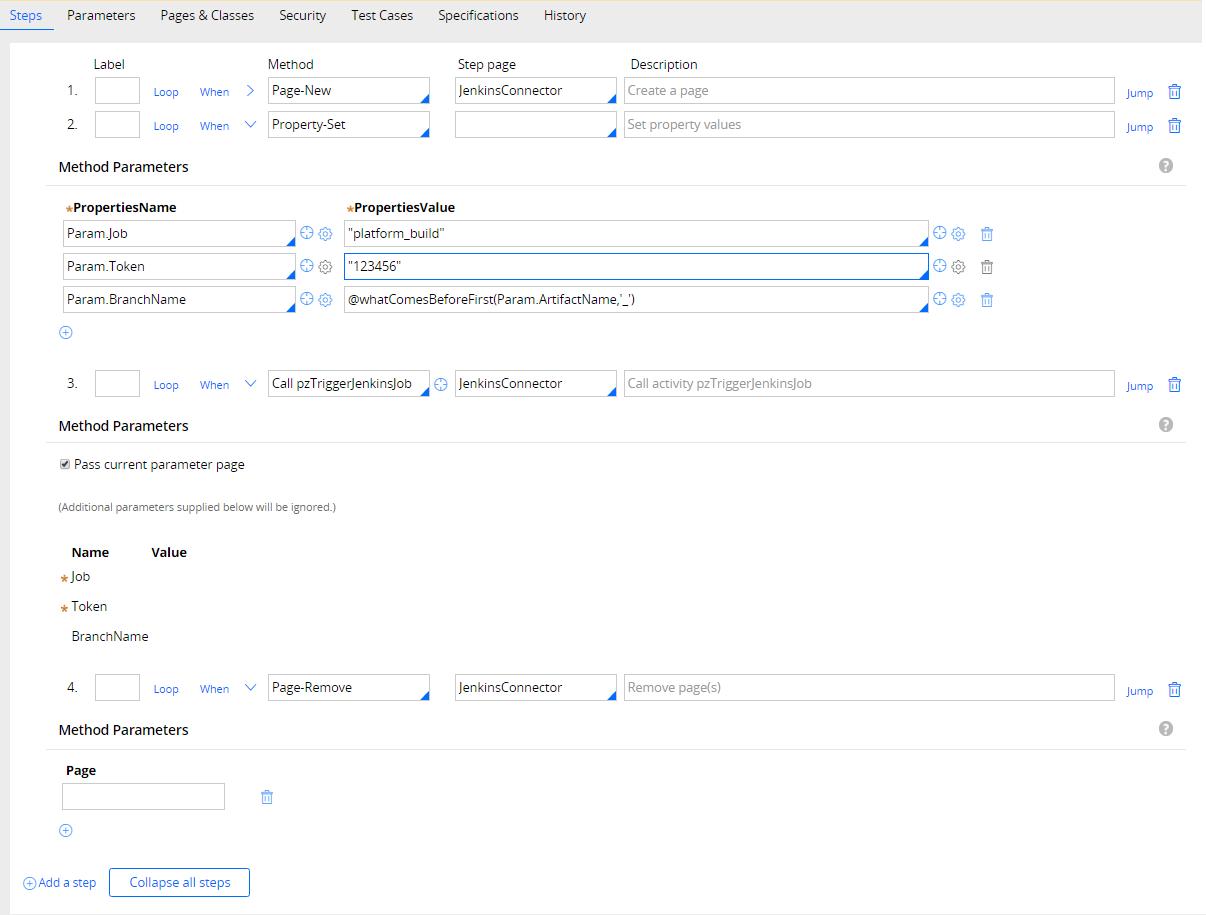Example of configured activity