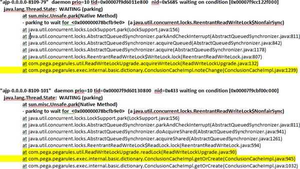 Java thread dump stack calls showing error condition