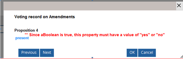 """Since aBoolean is true, this property must have a value of """"yes"""" or """"no""""."""