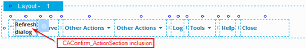 CAConfirm_ActionSection included in UI Layout to refresh dialog