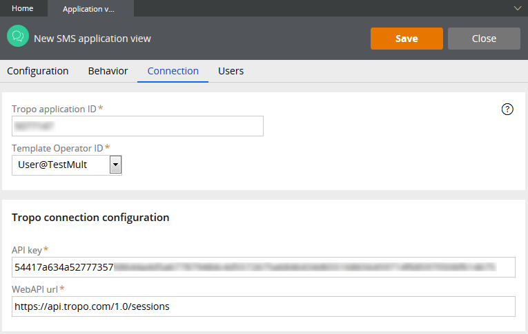 SMS channel configuration page