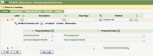 Activity rule ShowAssignmentInPortal Steps for Method Property-Set, pxThread.pxPortal and pxThread.AssignmentHandle