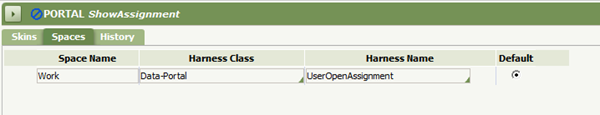 Portal rule ShowAssignment, Space specified for Work, Data-Portal, UserOpenAssignment as default